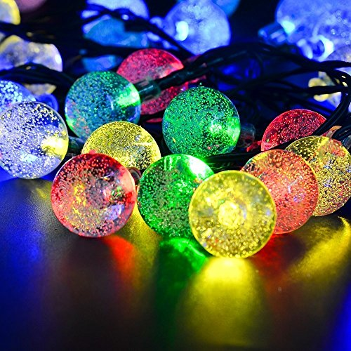ELINKUME Solarbetrieben LED Lichterketten Wasserdicht 6 Meter 30 LED Multicolor Kristall Ball Lichterkette für Außen, Indoor Gärten, Rasen, Terrasse, Weihnachten, Hochzeiten, Partys