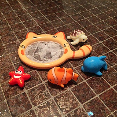 YOIL Set von 4 Stück Kinder Cartoon Niedlichen Tier Badewanne Bad Bad Squirt Spielzeug Wasser Spiel Spielzeug mit Net Angeln (Fisch Angel Regal)