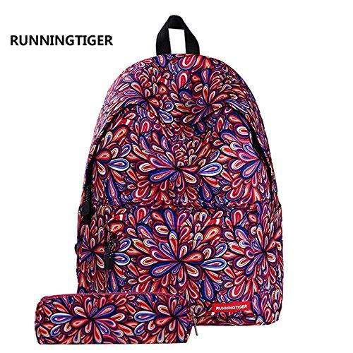 """Jian YA NA Jungen Schultasche für Mädchen, beiläufige Polyester Multifunktions Rucksäcke Bonus Mäppchen 11.8\"""" x 6.7\"""" x 15.7\"""" Mehrfarbig"""