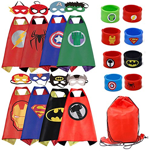 RioRand Dress Up Kostüme Comics Cartoon 8 Satin Capes Set mit 8 Armbändern und 1 ()