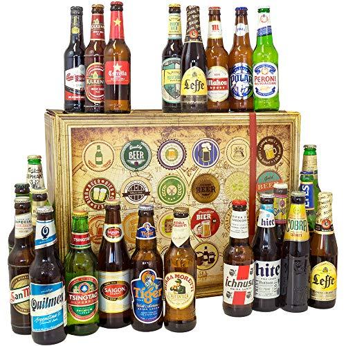 BIERE DER WELT Geschenk Box + 24 Flaschen Bier | Geburtstagsgeschenk für Ihn -