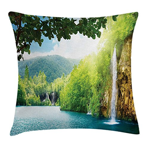 Waterfall Decor Throw Pillow Cushion Cover, Croatian Lake Landscape in Forest with Mountain View Background Artwork, Decorative Square Accent Pillow Case, 18 X 18 inches, Green and Blue