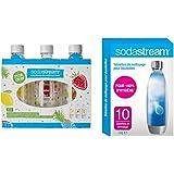 sodastream Pack DE 3 Bouteilles Pet décors Fruits édition spéciale (Citron/Fraise/Ananas), Plastique - 1L & Tablettes de Nett