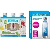 sodastream Pack DE 3 Bouteilles Pet décors Fruits édition spéciale (Citron/Fraise/Ananas), Plastique - 1L & Tablettes de…