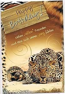 Carte d'anniversaire avec enveloppe -leopard- wild life