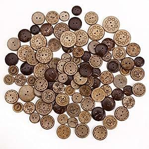 50 x Holzknöpfe Kokosknöpfe Kinderknöpfe Knöpfe Scrapbooking Kinder Kleidung Deko KUNSTSTOFF DIY Basteln Nähen