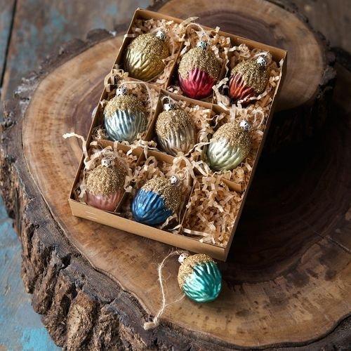 One Hundred Weihnachtsdekorationsset, 80 Grad, Eichel, Glitter, in Box, 5 cm, 9 Stück (Pinterest Dekoration Halloween)