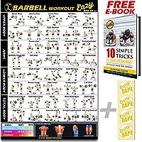 Barbell Workout-Poster mit Übungen zum Gewichteheben, groß: 51x 73cm, für Ausdauertraining, Muskelaufbau und -stärkung