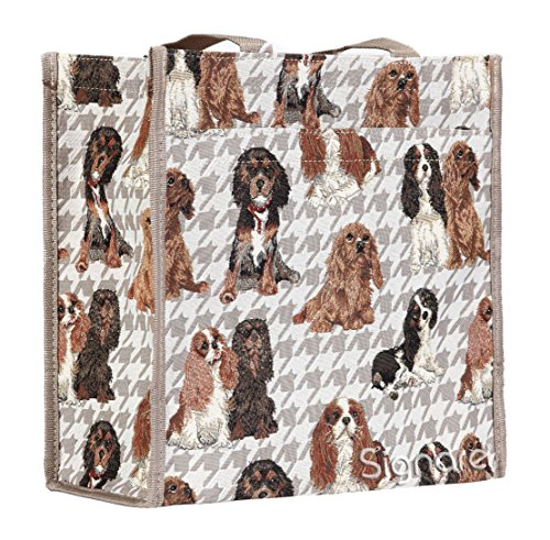 Modische Tapisserie Shopping Umhängetasche fuer Frauen im Signare Stil Cavalier King Charles Spaniel (Spaniel Regenschirm)