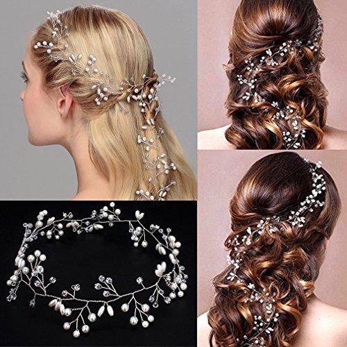 GUT® Kristalle Hochzeit Stirnband Braut Kopfschmuck für Brautjungfer und Flowergirls, 19,7 Zoll Haar Rebe und Kopfschmuck Perlen Silber Haarschmuck für Frauen und Mädchen