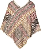 styleBREAKER Poncho mit Meander Ornament Muster, weich und fransig, V-Ausschnitt, Damen 08010037, Farbe:Creme-Beige-Braun-Rot-Schwarz