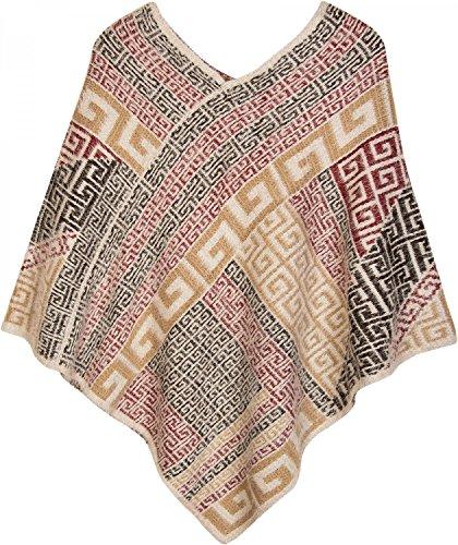 styleBREAKER Poncho mit Meander Ornament Muster, weich und fransig, V-Ausschnitt, Damen 08010037 Creme-Beige-Braun-Rot-Schwarz