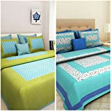 Suraaj Fashion Combo Bedsheets For Double Bed Cotton 100% Jaipuri Cotton Combo Set Of 2 Double Bedsheets With 4 Pillow Covers