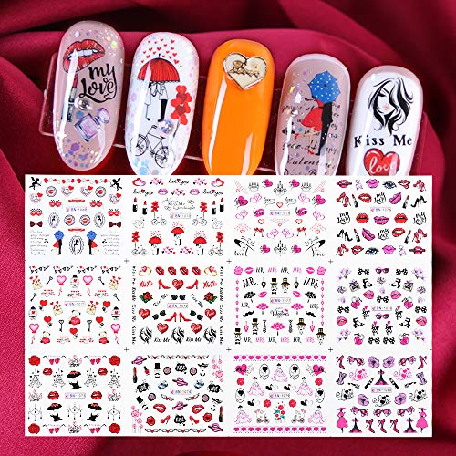 Valentine Design Wassertransfer Nail Art Sticker Slider Love Lips Nagel Dekoration Transferfolie Tip Decal Set 12St