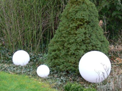 Sonderangebot: Hochwertige Außenleuchte Kugelleuchte Marlon 3er Set (20+30+40cm) Gartenleuchte Kugellampe mit Erdspieß, E27, Gartenlampe, Kugellampe