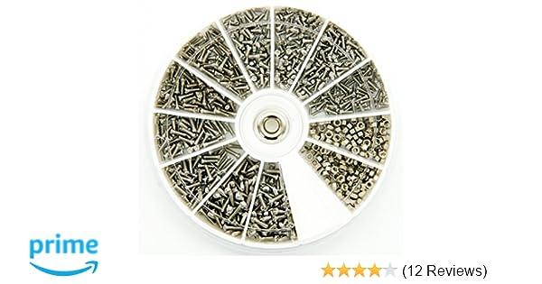 600 Stück 12 Sorten  Edelstahl kleine Schrauben Muttern Sortiment für Modellbau