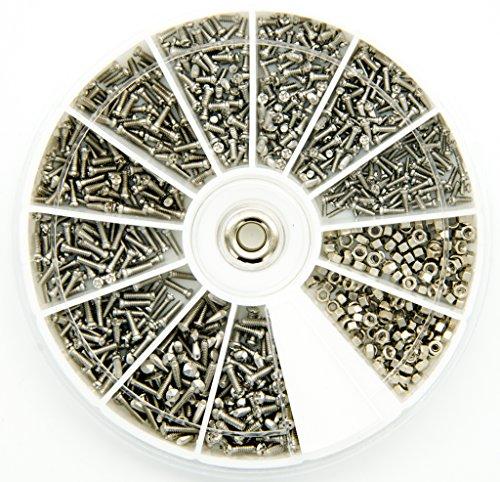 Preisvergleich Produktbild Edelstahl Fasermaterial Schrauben Muttern Sortiment Kit Set M1 M1, 2 M1.4 M1.6