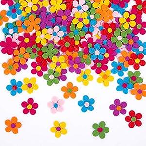 Naler 120 Flores de Fieltro de Colores Adornos de Fieltro Margaritas Cabezas de Flores Artificiales para DIY Manualidad y Artesanía