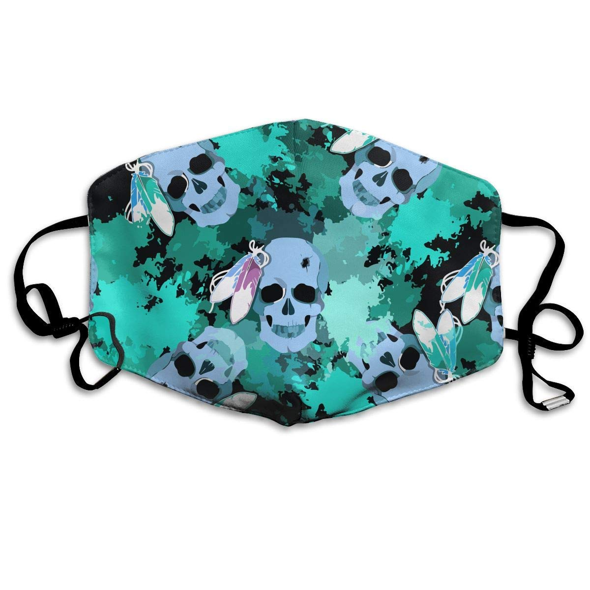 Daawqee Máscara de Boca, Green Feather Skull Tribe Unisex Fashion Mascarilla Washable Safety 100% Polyester Comfortable Breathable Health Half Face Masks