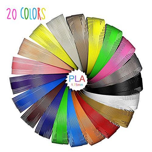 SUNLU PLA 3d Filament 1,75 PLA Filament 3D-Stift Filament für Kinder / 3D-Druckstift, 20 Farben, jeweils 16,4 Fuß, insgesamt 328 Fuß