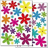 Wandkings Blumen Design 2 Wandsticker Set, 56 Aufkleber, 2 DIN A4 Bögen, Gesamtfläche 60 x 20 cm