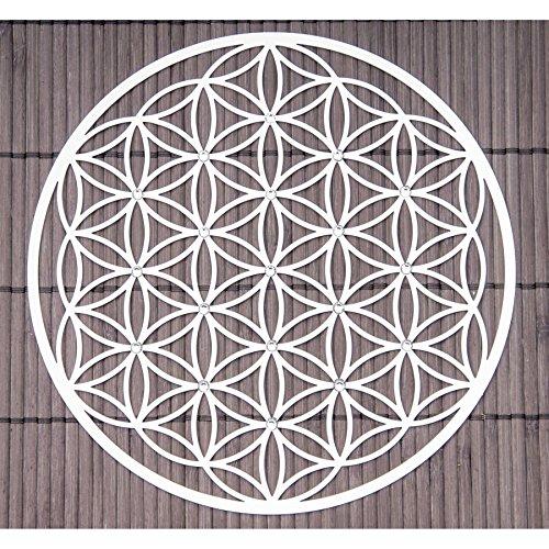 Wandschmuck aus Edelstahl Blume des Lebens mit Kristallen ø 18 cm - Esoterik