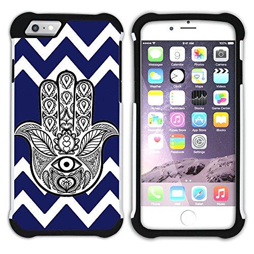 Graphic4You Hamsa Hand der Fatima Winkel Muster (Wasserblau) Hart + Weiche Kratzfeste Hülle Case Schale Tasche Schutzhülle für Apple iPhone 6 / 6S Marineblau