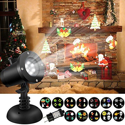 LED Projektor Licht,SOLMORE Projektionslampe Gartenleuchte Projektor Weihnachtsbeleuchtung Bewegend Effektlicht mit 12pcs Dia für Mauer Party Wand Halloween Weihnachten Bar Dekoration