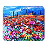 Whecom Durable Alfombrilla Raton Gaming Red Flower Original Oil Painting of Poppy Field Alfombrilla Raton Gaming for notebooks, Desktop Computers mats Office Supplies
