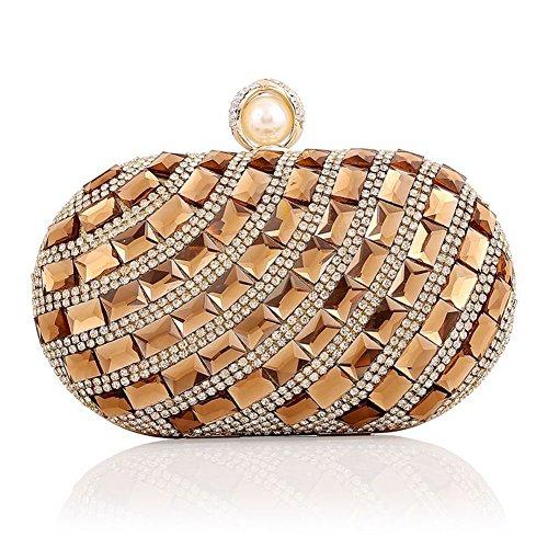 Cristalli strass Sallyshiny-Evening Clutch Bag Handbag Purse Bridal Wedding Sacchetti per feste (oro)