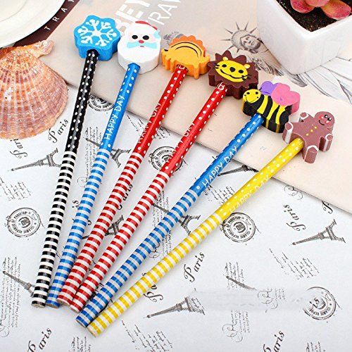 AND-Generic 6 Pcs. Pencils with Funky Eraser Tops- School Kids Fun Writing Stationery Gifting Items - (Colors & Design as per Availability)