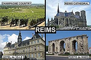 AIMANT DE FRIGO - SOUVENIR de REIMS RHEIMS FRANCE 9cm x 6cm Jumbo