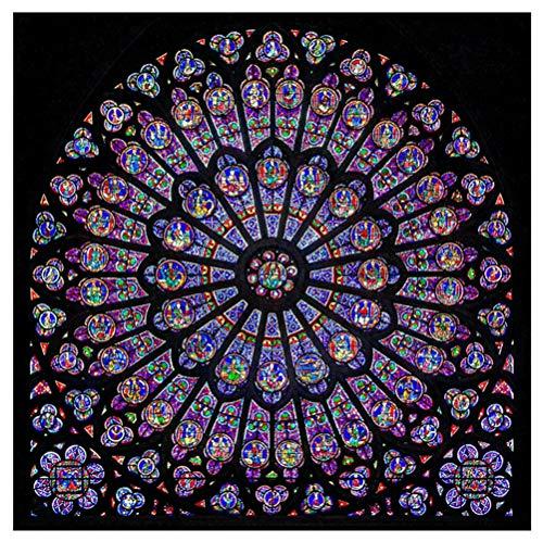 Mode Retro Notre Dame Kathedrale-Paris-Rosen-Fenster-Foto-Druck-Aufkleber Dekorative Malerei Wandmalerei Wohnzimmer Aufkleber Modernen MöBel Schlafzimmer Dekoration 19,6 Zoll (Mehrfarbig, 50cmX50cm) (Paris-fenster-aufkleber)