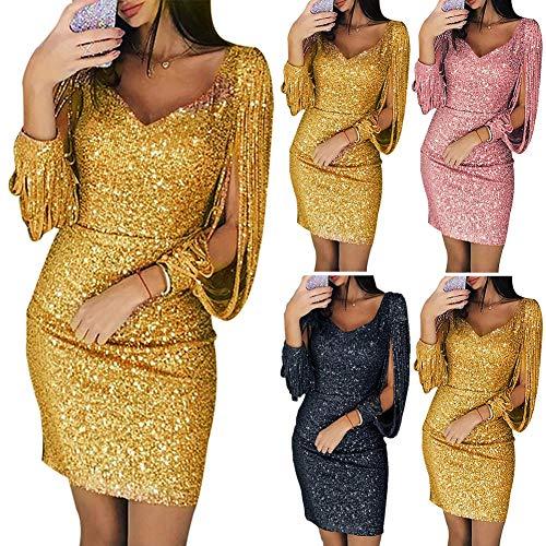 daisye88 Women's Polyester Elegant Cocktail Evening Sequins Slit Sleeve Deep V Neck Mini High Waist Back Zipper Glitter Tassels Dress (15584475751554, Black, Medium)