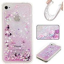 Beiuns para Apple iPhone 4 4G 4S (3,5 pulgadas) Carcasa de TPU y silicona noctilucent Funda - G207 rosa