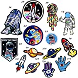 iDream Iron on Patches Space Style Embroidery Applique Decoration for Clothes L2-S37 (Pack of 14)