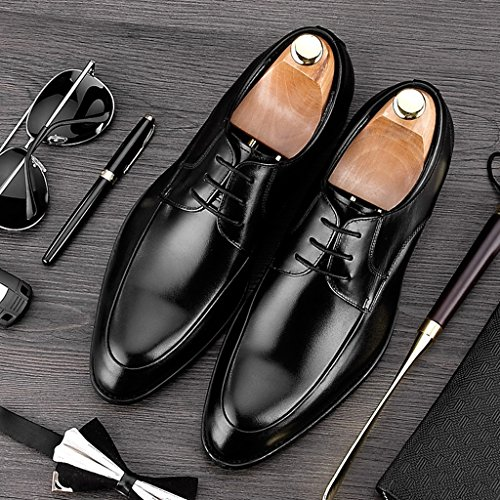 Chaussures En Cuir Pour Hommes Men's Leather Business Formal Wear Chaussures De Loisirs Retro Pointu British Tide Shoes (couleur: Marron, Taille: Eu45 / Uk9) Noir