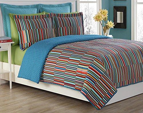 Fiesta Taos Steppdecke, 3-teilig, mit 2 passenden Kissenbezügen, für volle/Queen-Size-Betten, Rot - Roten Bett Ensemble