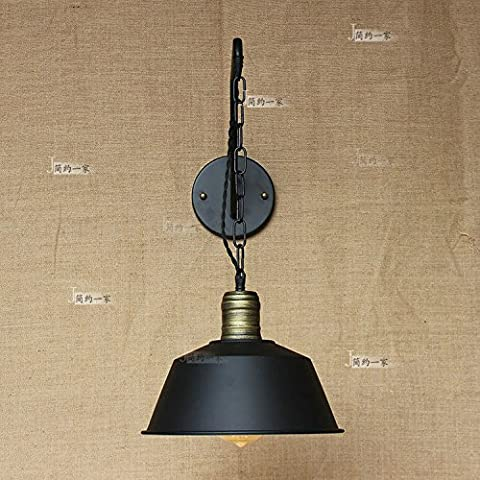 Modeen American Industrial Available Lift Up and Down Hanging Chain European Craft Wall Lamp Tradition Speaker Black Restaurant Dining Room Garage Kitchen Wall Sconce Light