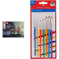 Camlin Kokuyo Artist 5ml Water Color Tube - 24 Shades (Multicolor) & Faber-Castell Tri-Grip Brush - Round, Pack of 7…