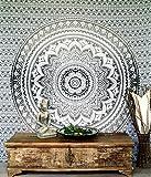 Guru-Shop Indisches Mandala Tuch, Wandtuch, Tagesdecke Mandala Druck - Weiß/schwarz, Baumwolle, 230x210 cm, Bettüberwurf, Sofa Überwurf