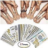 17 Blatt Temporäre Tattoos Gold Metallic, 300 Designs Aufklebe Körper Gefälschte Schmuck Tattoo temporär für Frauen Jugendliche Mädchen Body Art(Wasserdicht)