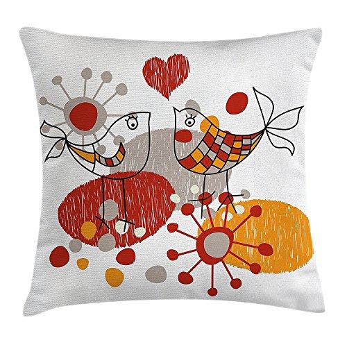 San valentino cuscino, della cute little love birds con cuori romantico spring fun happy sketch design, decorative square accent pillow case, 45,7x 45,7cm, grigio arancione rosso