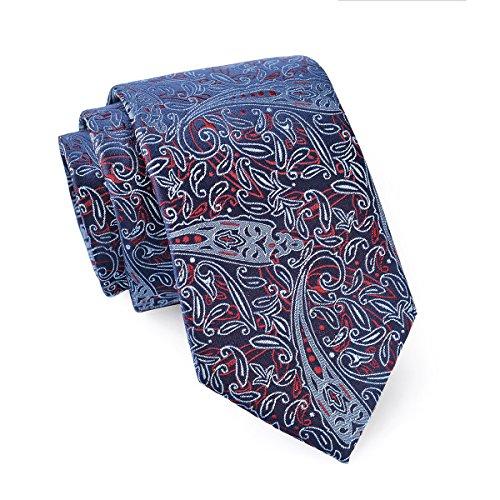 MASSI MORINO Seidenkrawatten für Herren, handgenähte Krawatte aus 100% echter Seide in verschiedenen Farben - schmale 6,5 cm Slim Fit Herrenkrawatte (Paisley Blau - Rot)