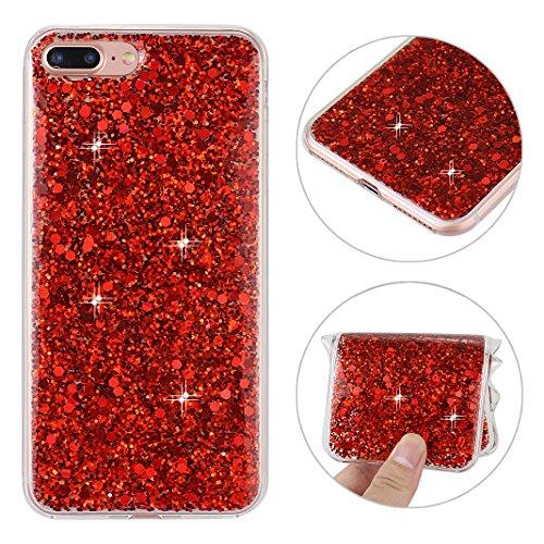 iPhone 7 Plus Hülle Glitter mit Strass Diamanten, iPhone 7 Plus Hülle Glitzer, iPhone 7 Plus Back Case, iPhone 7 Plus Bumper, Moon mood® Kristall Sparkle Schutzhülle für Apple iPhone 7 Plus 5.5 Zoll,  A Rote