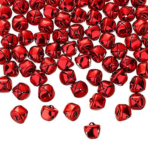 Zhanmai Jingle Bells, 300 Stück 1/2 Zoll Handwerk Glocken, DIY Glocken für Kranz, Ferienhaus und Weihnachten Dekoration (Rot)
