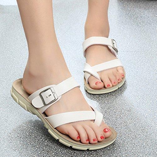 Zapatillas De Verano Unisex Para Adultos - Chanclas De Mujer - Sandalias Planas Blancas Para Mujer