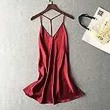 WDDGPZSY Nachthemd/Nachtwäsche/Schlafhemd/Homewear/Pyjamas/Strap Blackless Damen Nachthemd Deep V Fashion Damen Dessous, Weinrot, XL