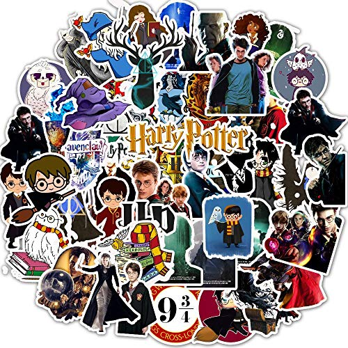 yunkanda 50 Pz Harry Potter Hogwarts Adesivi Cartoon Impermeabile Decalcomanie Fai da Te Sticker per Frigorifero Valigia Cancelleria Developer Decor
