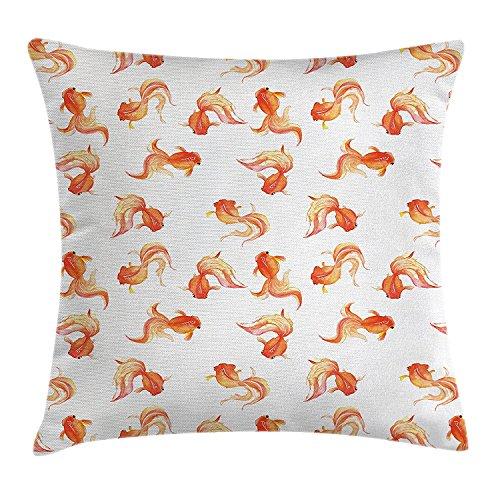 Ocean Animal Decor Throw Pillow Cushion Cover, Goldfish Motifs Freshwater Aquarium Crucian Carp Watercolors Print, Decorative Square Accent Pillow Case, 18X18 Inches, Orange White (Goldfish Cover)